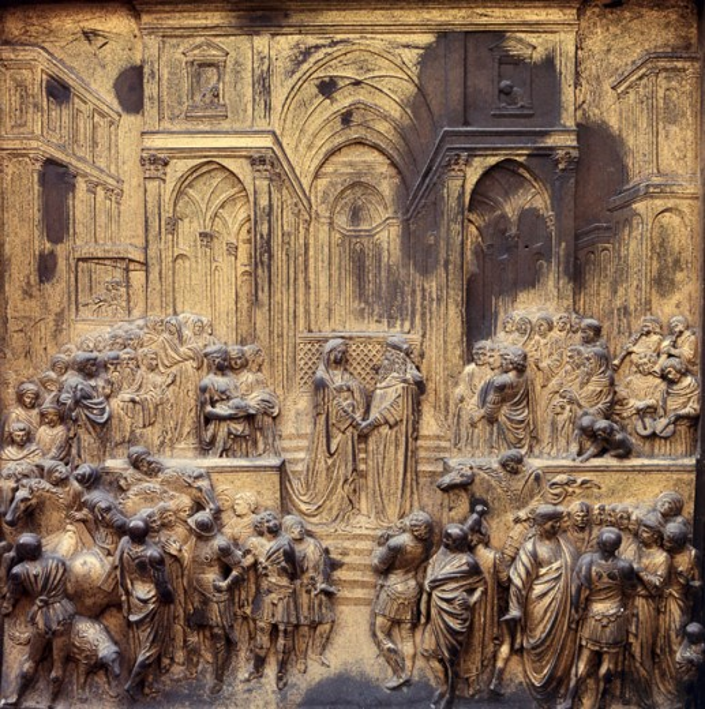 Stock Photo: 2058-418236 Gates of Paradise - Eastern Doors (Solomon & Sheba)  1425-52 Lorenzo Ghiberti (ca.1381-1455 Italian) Bronze Baptistry, Florence, Italy