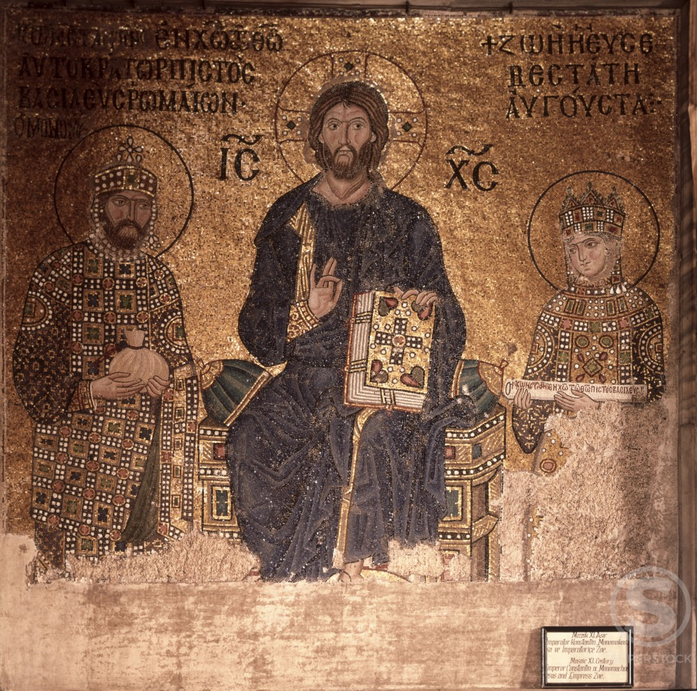 Stock Photo: 2058-442378 Christ Enthroned with Constantine XI and Empress Zoe