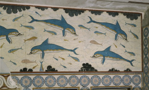 Stock Photo: 2058-443917 Dolphin Fresco, From the Apartment of the Queen Greek Art