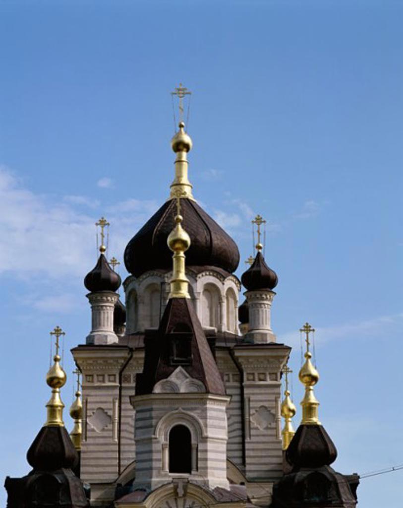 Facade of a church building, Resurrection of Christ Church, Foros, Ukraine : Stock Photo