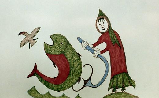 Eskimo Girl Fishing, illustration and painting, Eskimo Art : Stock Photo