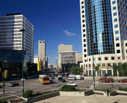 Traffic on the streets, Winnipeg, Manitoba, Canada : Stock Photo