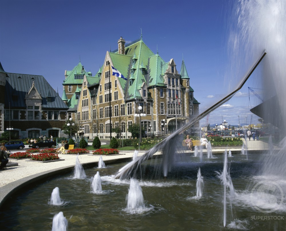 Stock Photo: 2070-1297 Water fountains in front of Place de la Gare, Quebec City, Quebec, Canada