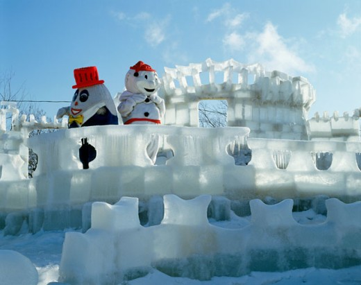 Stock Photo: 2070-285 Ice Sculptures at Ice Palace, Winter Carnival, Quebec, Canada