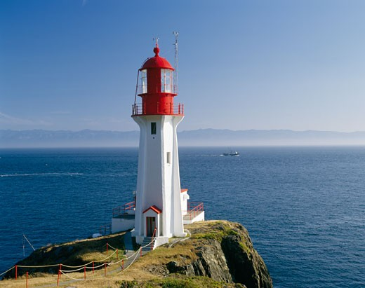 Stock Photo: 2070-593464 Lighthouse on the coast, Sheringham Point Lighthouse, Vancouver Island, British Columbia, Canada