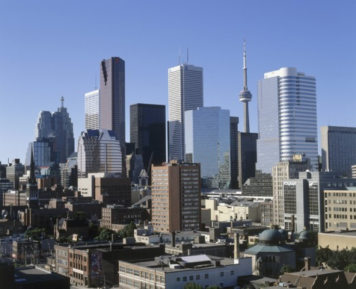 High angle view of skyscrapers in a city, Toronto, Ontario, Canada : Stock Photo