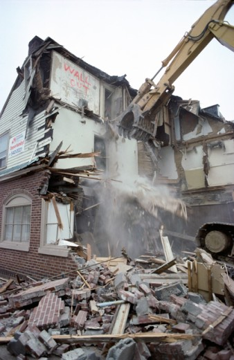 Stock Photo: 2090-230 Morristown Mecadon's Building being Demolished New Jersey USA