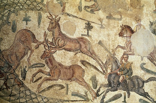 Italy, Sicily, Piazza Armerina, Villa of Casale, Mosaic with hunting scene, 2nd-4th C. A.D. : Stock Photo