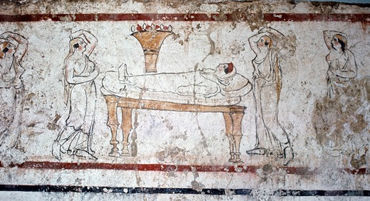 Stock Photo: 2102-1311 Italy, Paestum, Gaudio Tomb fresco, Greek Art