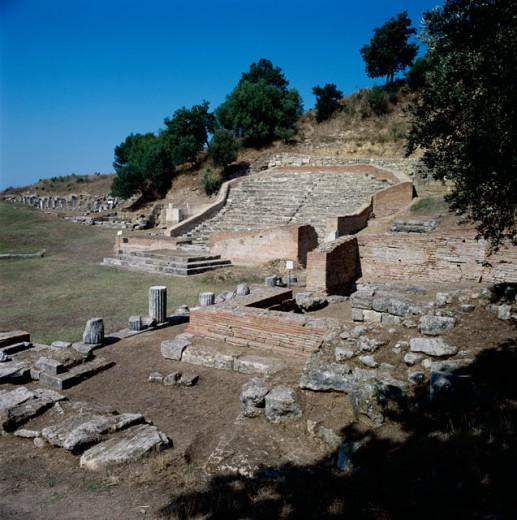 Ancient ruins of a Roman Theatre, Apollonia, Albania : Stock Photo