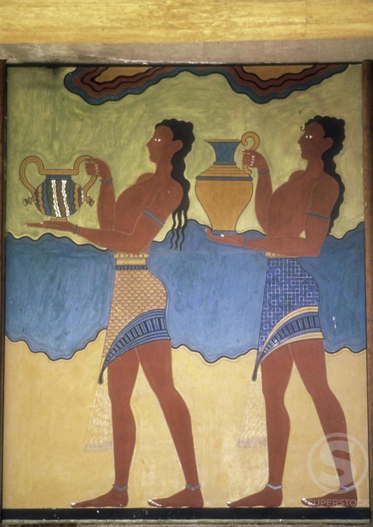Procession  Fresco  Artist Unknown (Greek)  Knossos, Crete  : Stock Photo