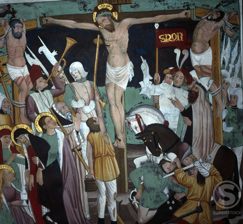 Stock Photo: 2102-1620 The Crucifixion fresco by unknown artist, circa 1446, France, Lanslevillard, Saint Sebastien Chapel