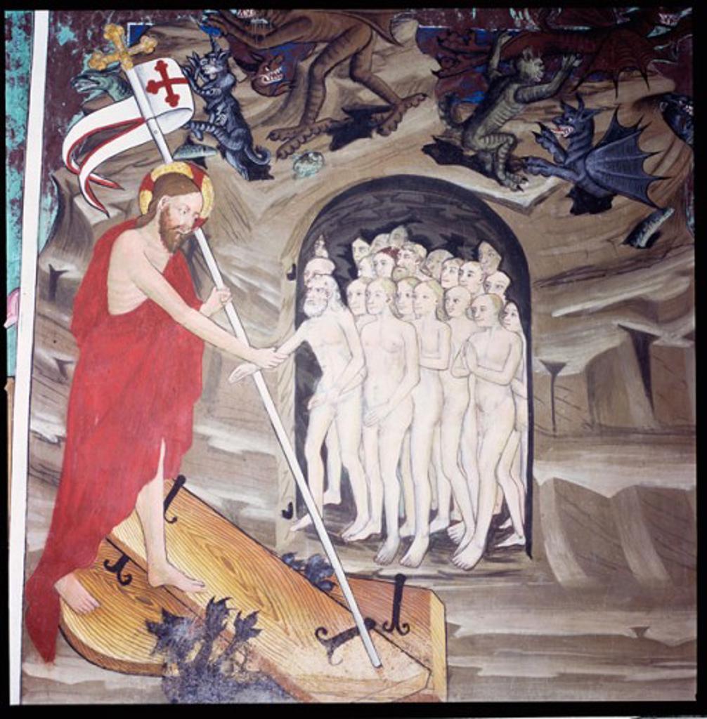 Descent Into Limbo 1446 Artist Unknown Fresco St. Sebastien Chapel, Lanslevillard, France : Stock Photo