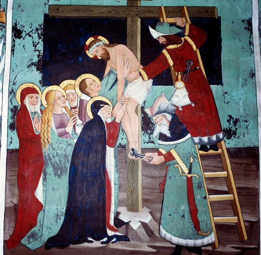 Descent from The Cross, The Deposition by unknown artist, circa 1446, France, Lanslevillard, Saint Sebastien Chapel : Stock Photo