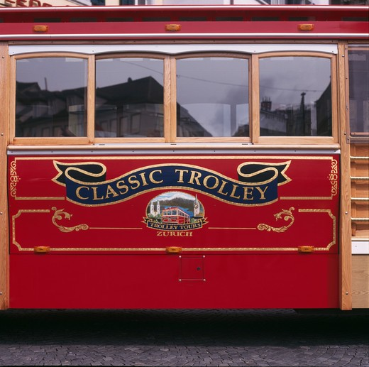 Switzerland, Zurich, close up of red classic trolley : Stock Photo