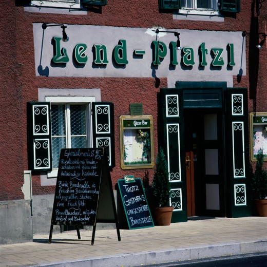 Facade of an establishment, Lend-Platzl, Graz, Austria : Stock Photo