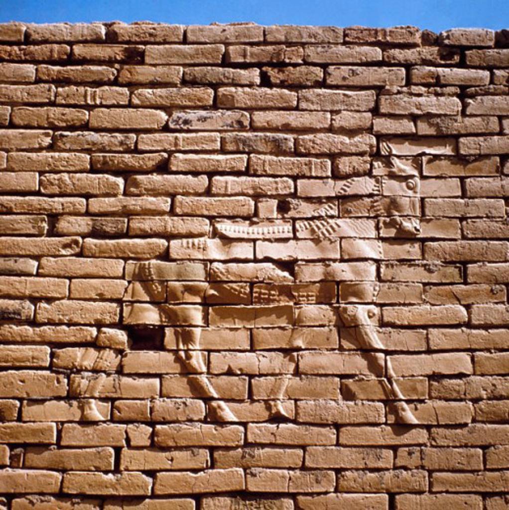 Stock Photo: 2102-2532 Bull Babylon Ruins Iraq