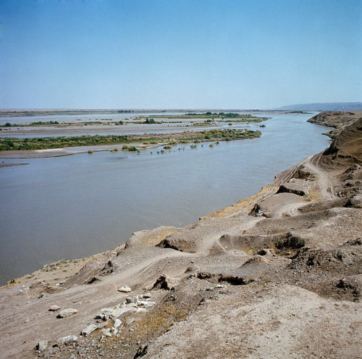 Iraq, Landscape with Tigris River : Stock Photo