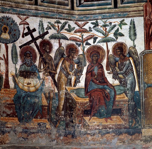 Religious Scene, fresco, 15th-16th Century, Romania, Voronet Monastery : Stock Photo