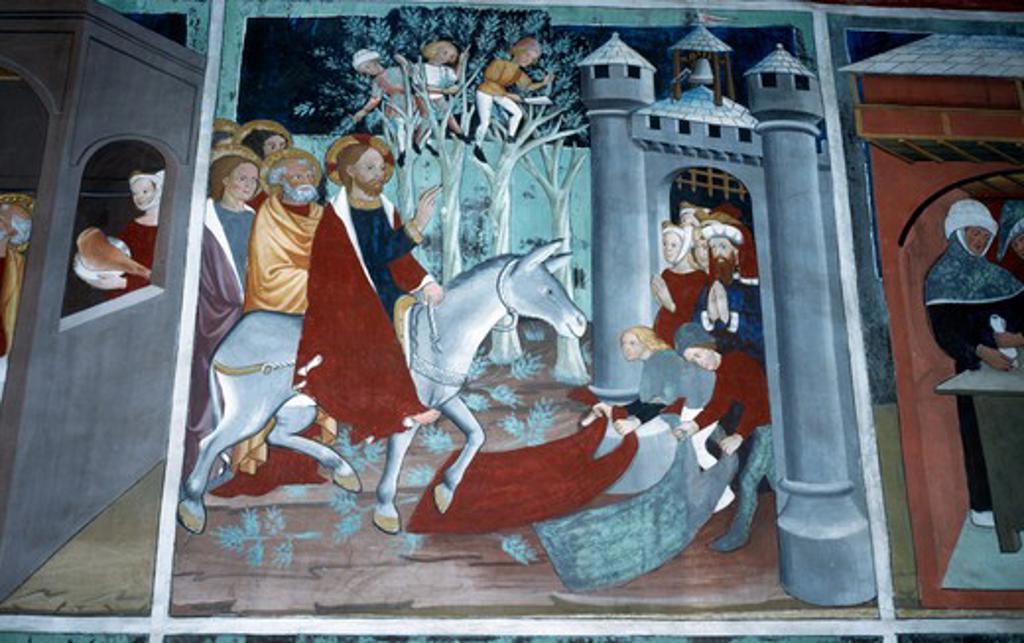 Stock Photo: 2102-2991 France,  Lanslevillard,  St. Sebastien Chapel,  Christ's Entry into Jerusalem,  fresco