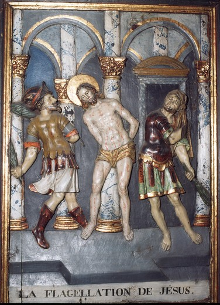 France,  Lanslevillard,  St. Sebastien Chapel,  Flagellation of Christ : Stock Photo