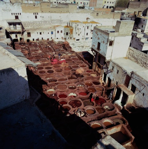 High angle view of a Tannery, Fez, Morocco : Stock Photo