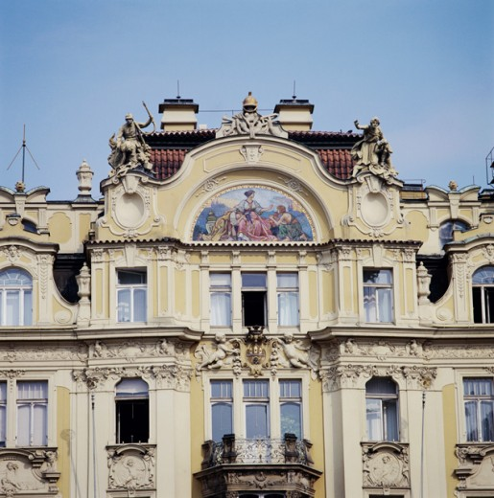 Facade of a building, Prague, Czech Republic : Stock Photo