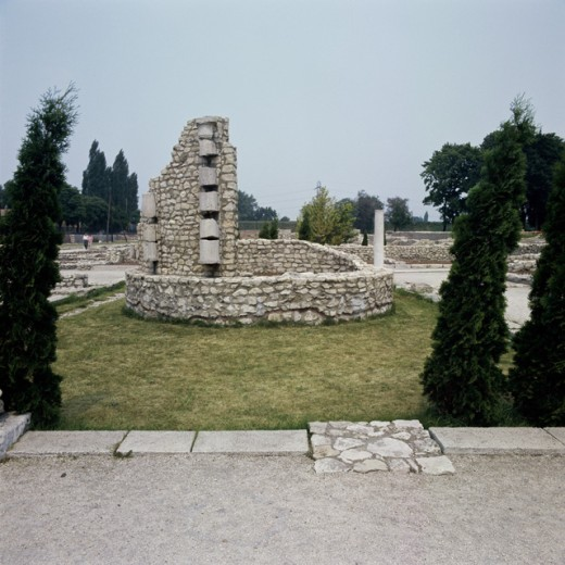 Old ruins of an ancient town, Aquincum, Budapest, Hungary : Stock Photo