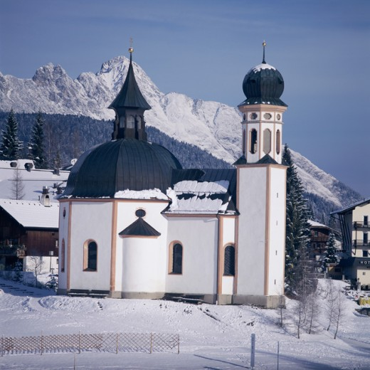 Chapel on a snow covered land, Seekirchl Chapel, Seefeld, Austria : Stock Photo