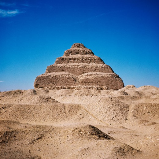 Low angle view of a pyramid, The Step Pyramid of Zoser, Saqqara, Egypt : Stock Photo