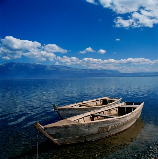 Stock Photo: 2102-3256 High angle view of two boats moored in the sea, Pogradec, Albania