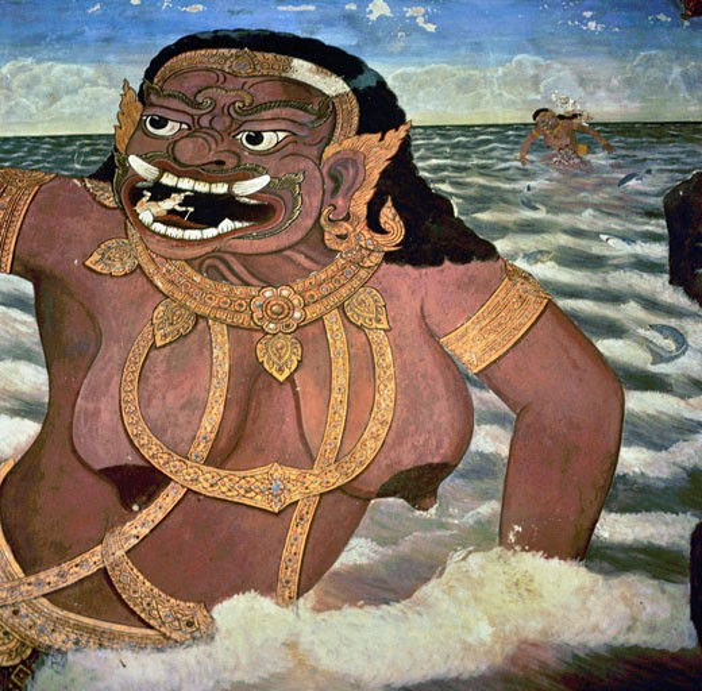 Stock Photo: 2102-3273 Mythological Fresco  Asian Art(- ) Fresco