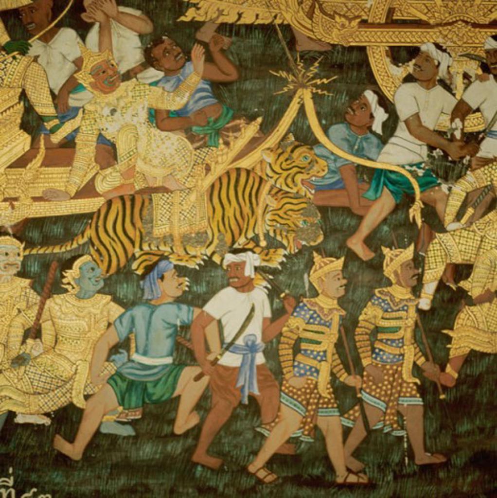Mythological Fresco  Asian Art(- ) Fresco : Stock Photo