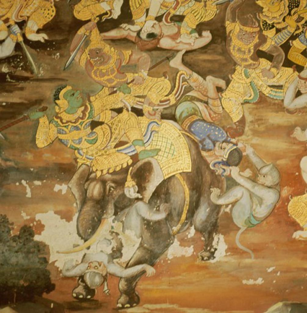 Stock Photo: 2102-3279 Mythological Fresco  Asian Art(- ) Fresco