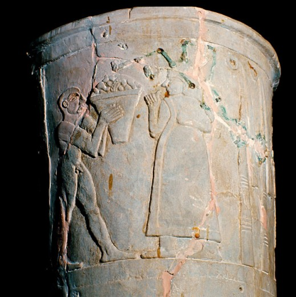 Warka Vase (Detail) 3200 BCE Ancient Near East Alabaster Iraq National Museum, Baghdad, Iraq : Stock Photo
