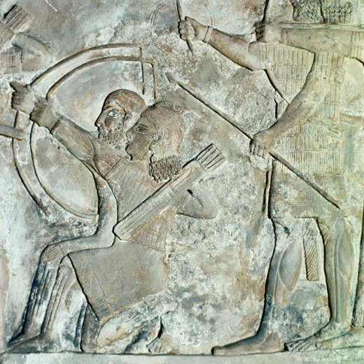 Stock Photo: 2102-434 Assyrian Archers (Detail from Khorsabad)