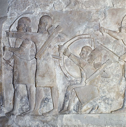 Stock Photo: 2102-449 Assyrian Archers/Khorsabad,Mesopotamia