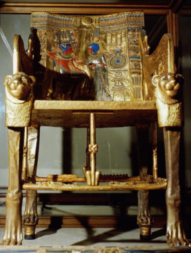 Tutankhamen: Throne Egyptian Art Egyptian National Museum, Cairo, Egypt  : Stock Photo