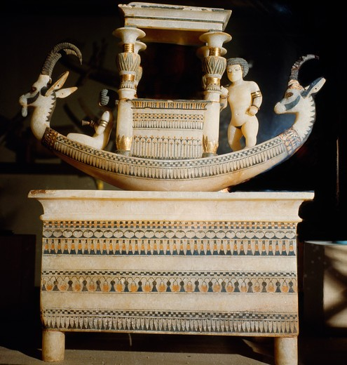 Stock Photo: 2102-529642 Egypt, Cairo, Egyptian Museum, Alabaster boat chest from Tutankhamen grave, ca.1342 BC