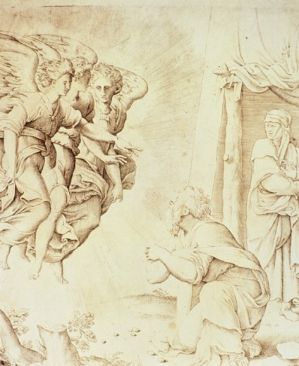 Stock Photo: 2102-922 Abraham Petitions the Three Angels