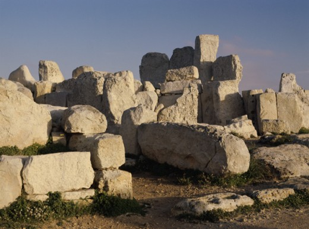Stock Photo: 2106-550437 Neolithic Temple Ruins Hagar Qim Malta