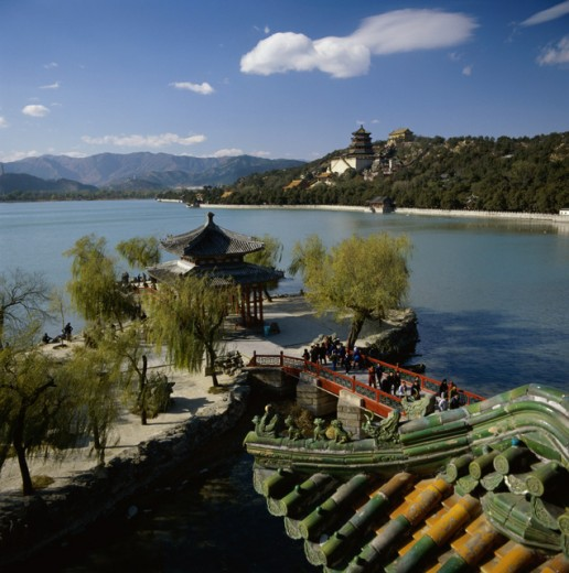 Stock Photo: 2106-595295 High angle view of tourists crossing a bridge, Spring Heralding Pavilion, Beijing, China