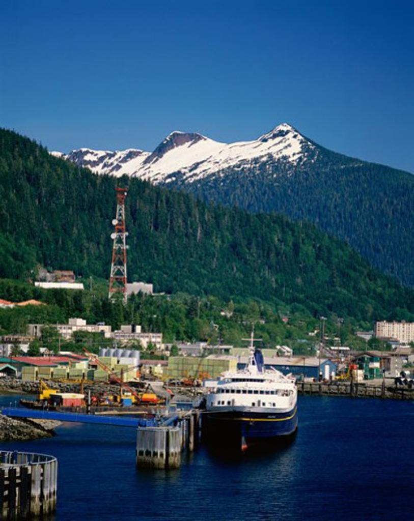 Stock Photo: 2109-1775 Ship in the harbor, Ketchikan, Alaska, USA