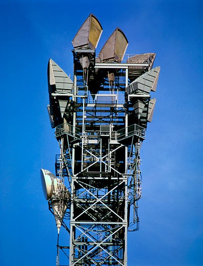 Low angle view of a microwave tower : Stock Photo