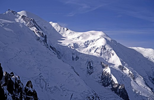 Stock Photo: 2109-601842 Mont Blanc and the Dome du Gouter from the Aguille du Midi above Chamonix, France
