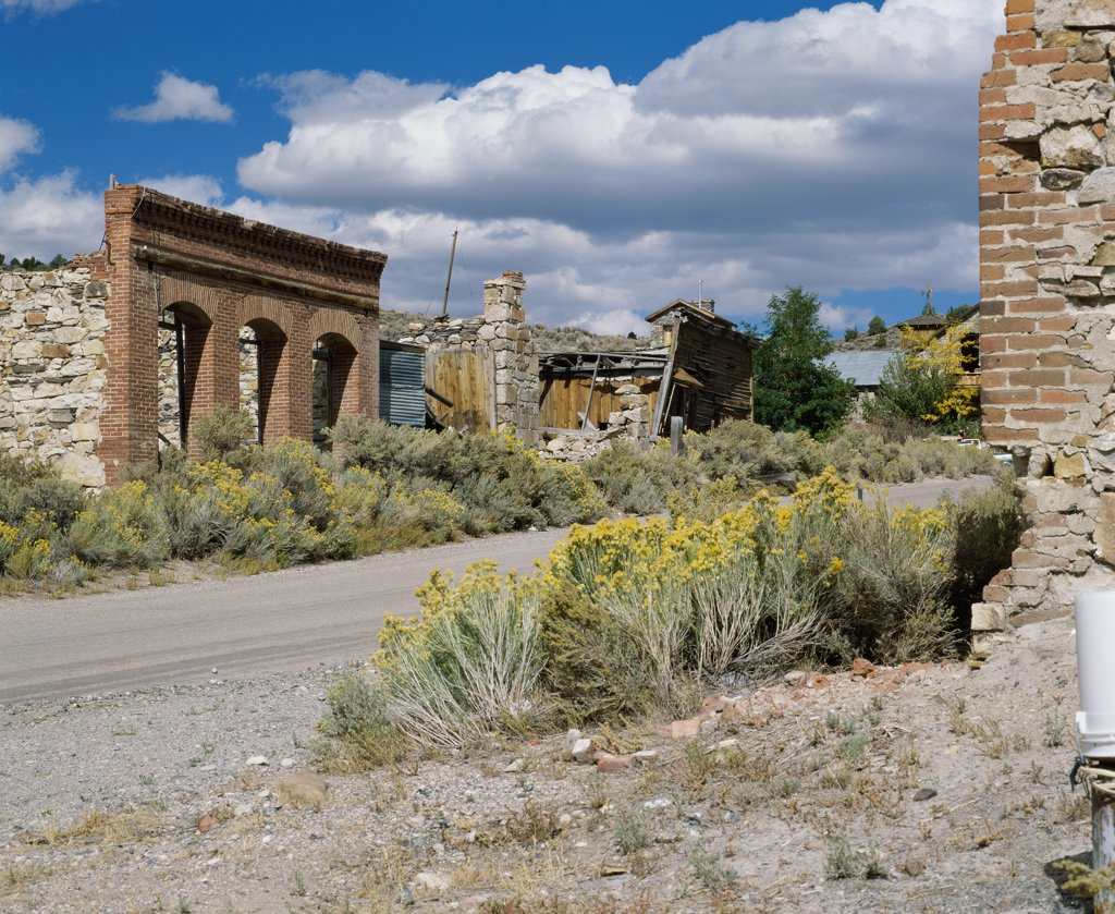 Abandoned buildings at Belmont Ghost Town, Nevada, USA : Stock Photo