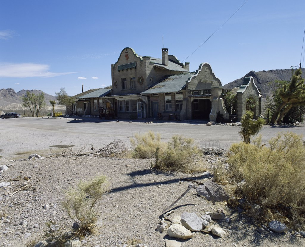 Facade of Railroad Depot, Rhyolite Ghost Town, Nevada, USA : Stock Photo