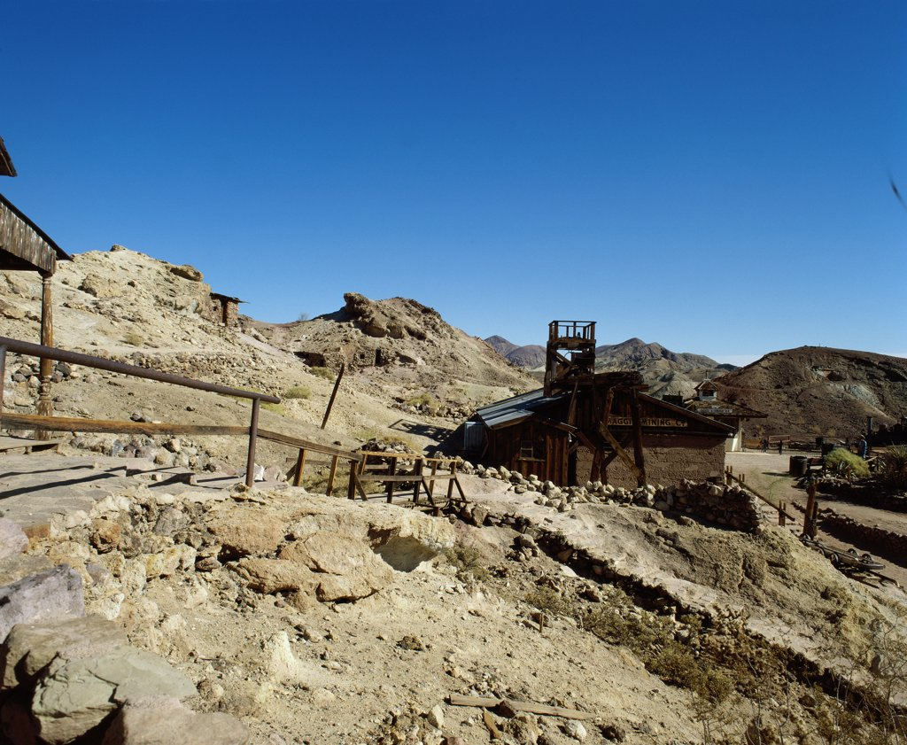 Panoramic view of Maggie's Mine, Calico Ghost Town, Barstow, California, USA : Stock Photo