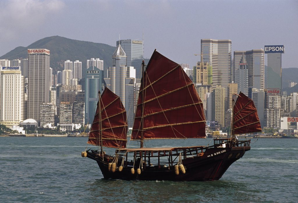 Junk in the sea, Victoria Harbor, Hong Kong, China : Stock Photo