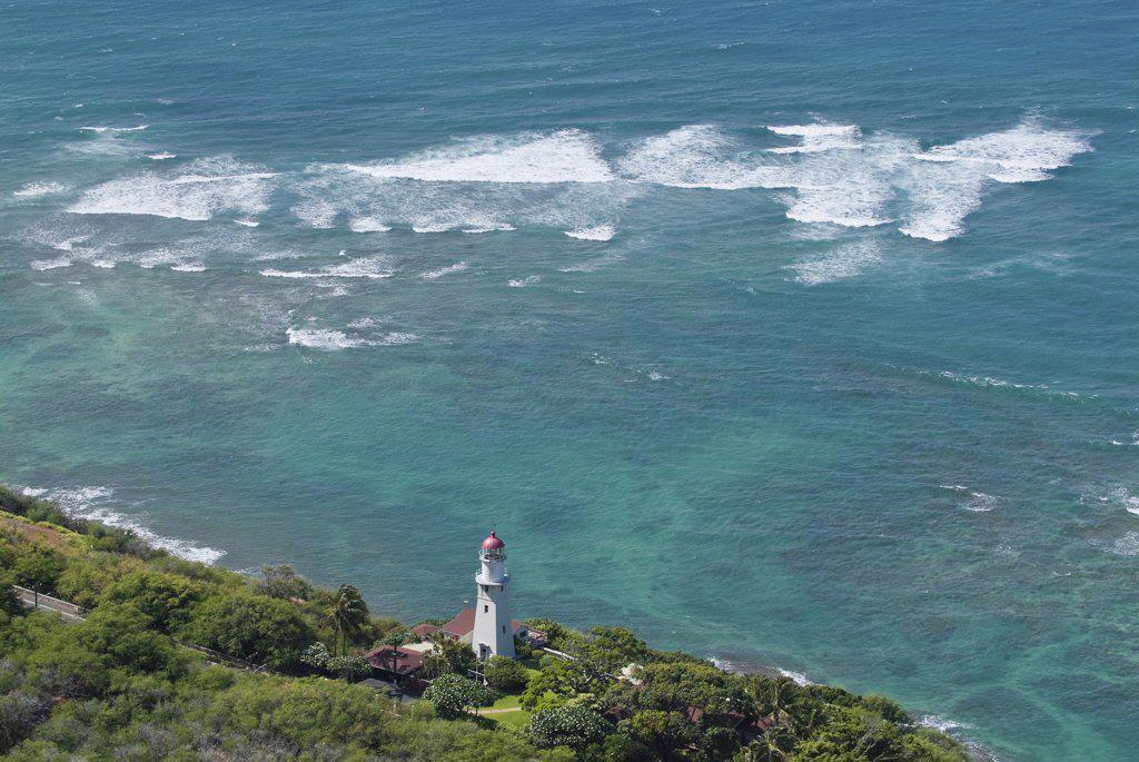 Stock Photo: 2117-588409 Lighthouse on an island, Diamond Head Lighthouse, Honolulu, Oahu, Hawaii, USA